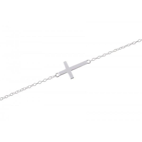 Bracelet croix plate