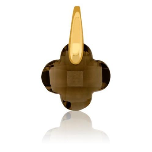 Pendentif Trèfle or et quartz fumé