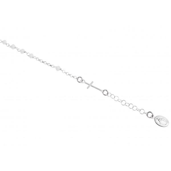 Dizainier argent et perles blanches