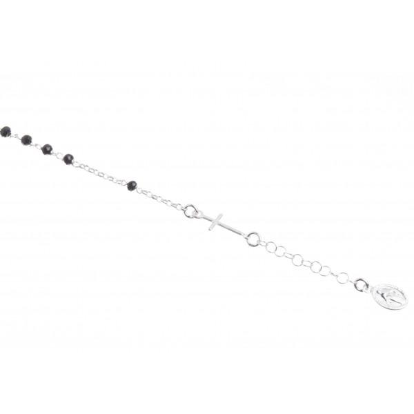 Dizainier argent et perles noires