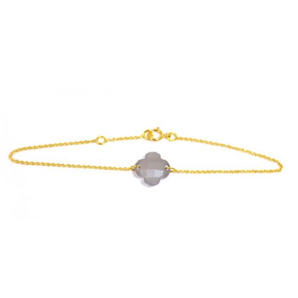 Bracelet Trèfle pierre fine grise
