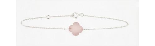 Bracelet Trèfle Quartz rose