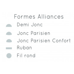 Alliance Demi jonc or gris palladié