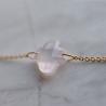 Bracelet en or blanc 18 carats et son trèfle en Quartz rose - Laudate