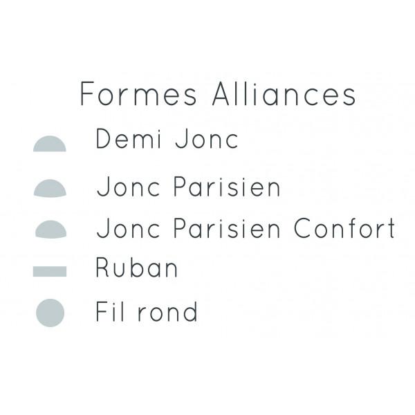 Alliance jonc parisien confort or gris palladie