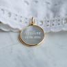 Medaille bapteme Annonciation en nacre et or jaune - Maison Laudate