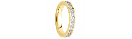 Alliance diamants sertis rails or jaune tour complet 1,5 carats
