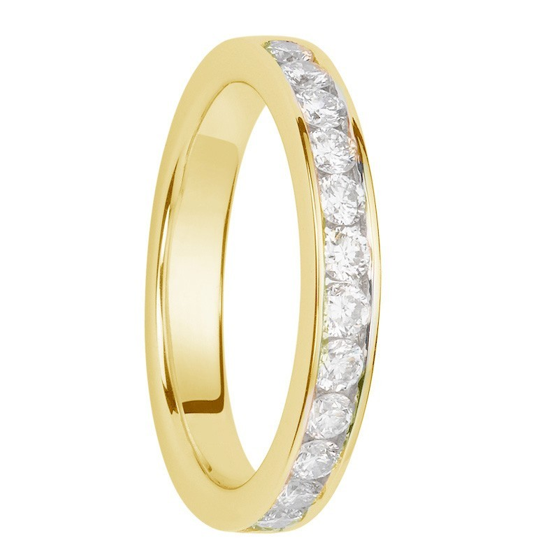 Alliance diamants sertis rails or jaune Demi Tour 0,65 carats