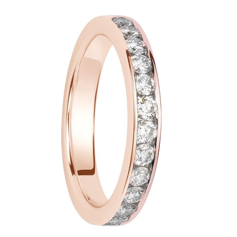 Alliance diamants sertis rails or rose Demi Tour 0,65 carats