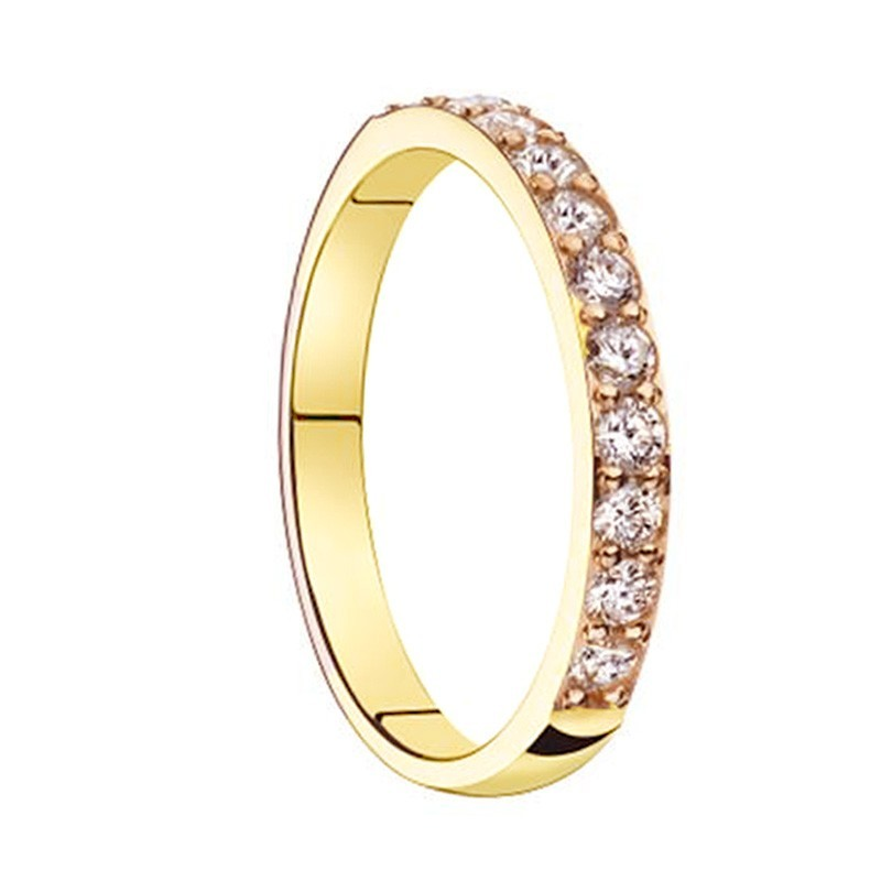 Alliance diamants sertis griffes or jaune Demi Tour 0,44 carats