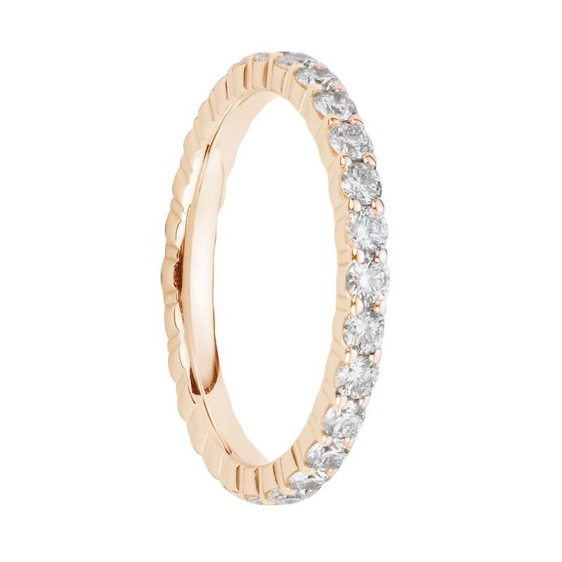 Alliances en diamants griffes or rose Tour complet 1,1 carat