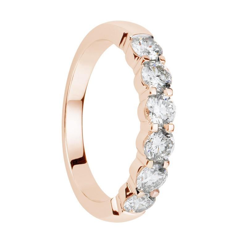 Alliance diamants griffes or rose demi tour 1,1 carats