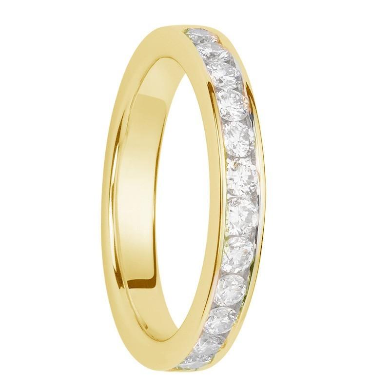 Alliance diamants sertis rails or jaune Demi Tour 0,78 carats