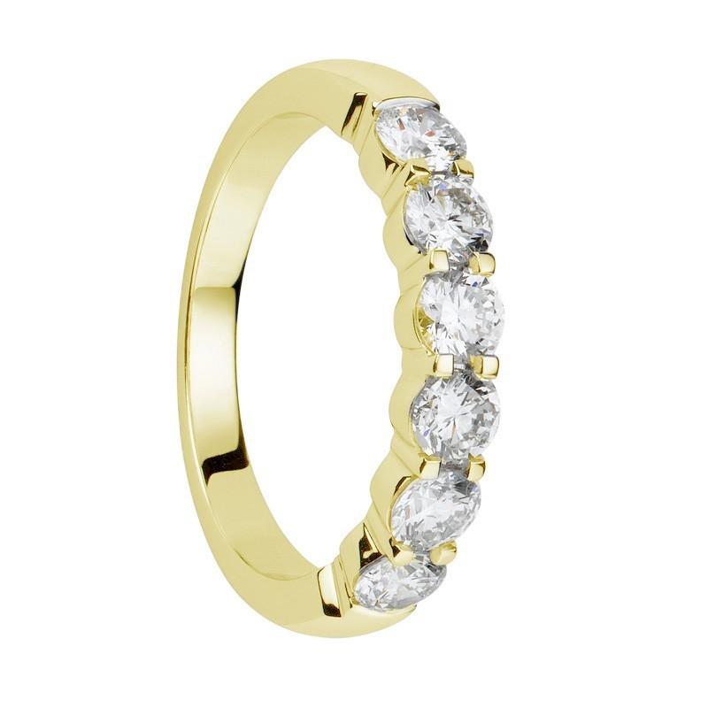 Alliance diamants griffes or jaune demi tour 1,1 carats