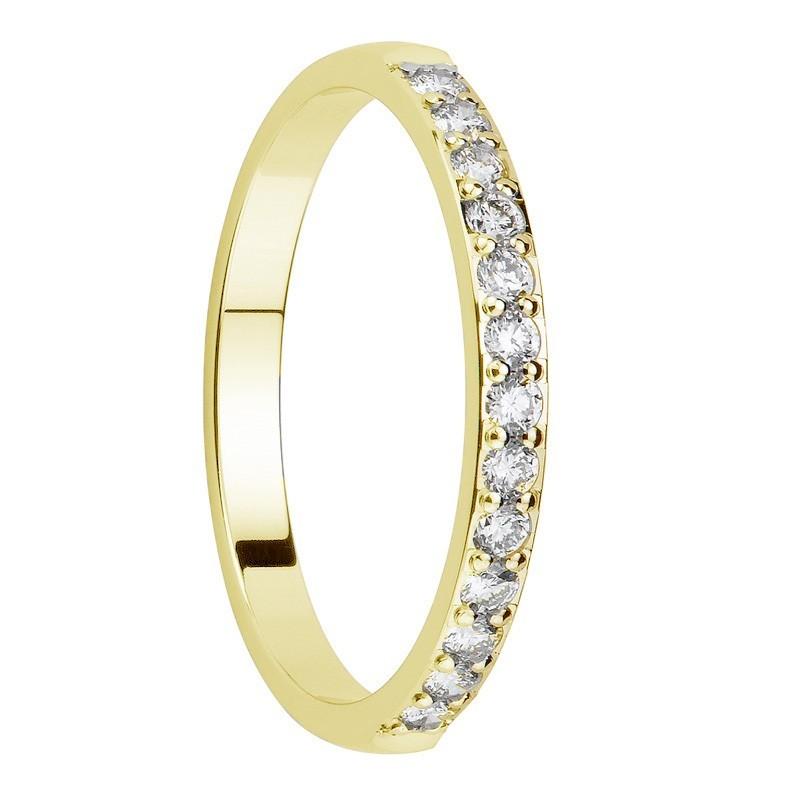 Alliance diamants sertis griffes or jaune Demi Tour 0,36 carats