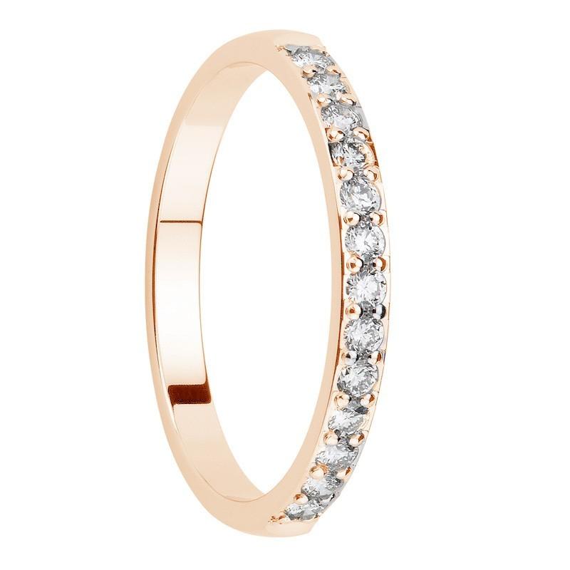 Alliance diamants sertis griffes or rose Demi Tour 0,26 carats