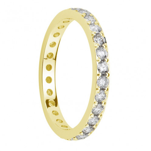 Alliance diamants sertis griffes or jaune Tour Complet 2,1mm