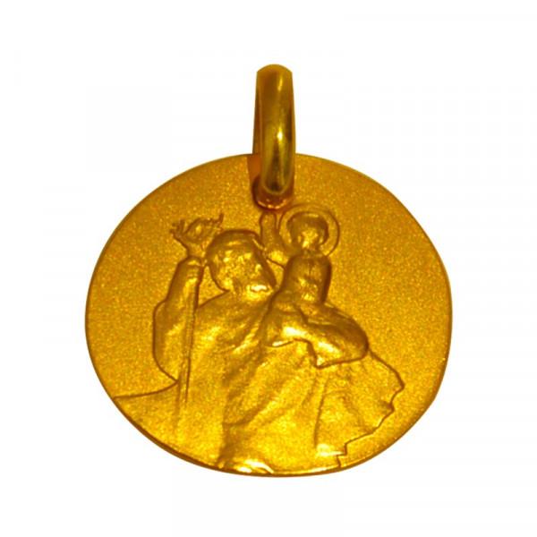 medaille bapteme galet saint christophe or jaune