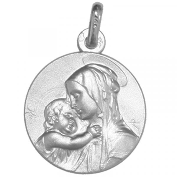 medaille bapteme vierge souveraine or blanc