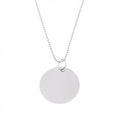 collier pendentif jeton 25mm personnalisable argent