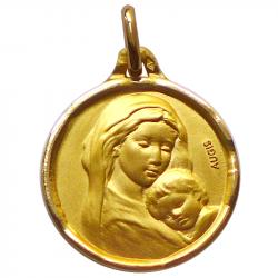 medaille bapteme notre dame tendresse or jaune