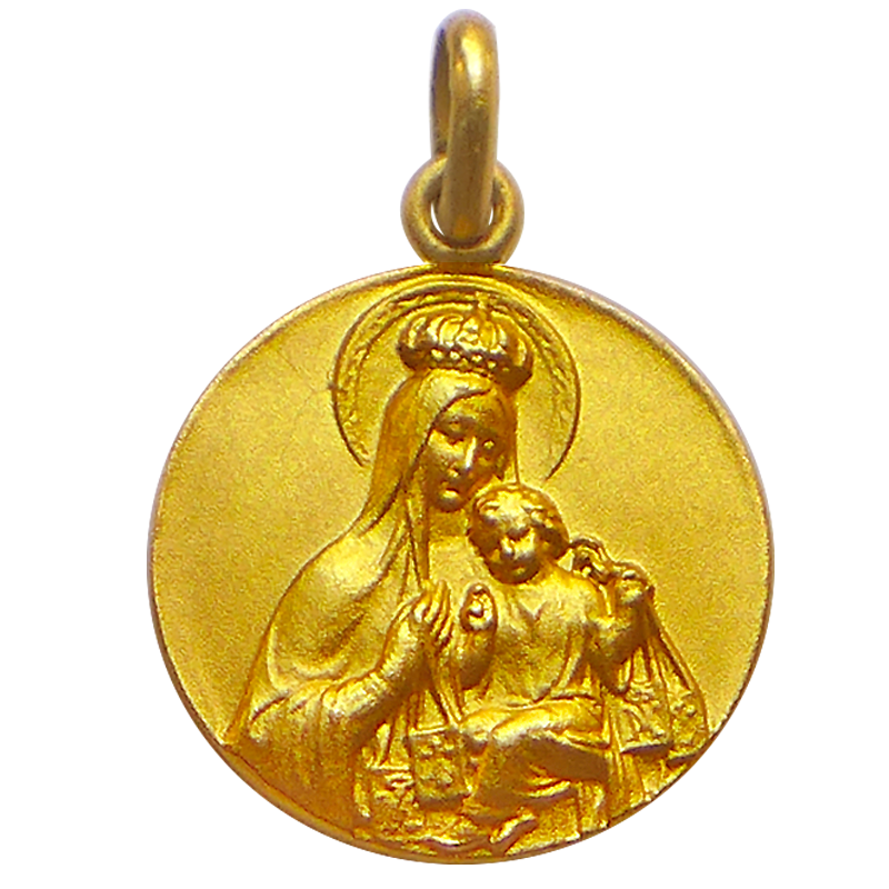 medaille bapteme vierge scapulaire or jaune