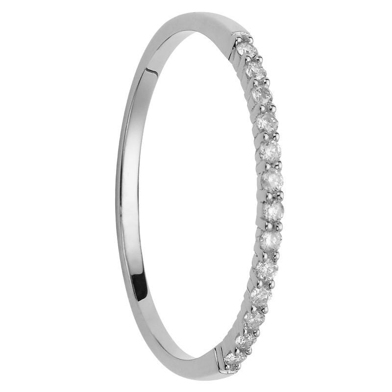 Alliance 13 diamants coup de coeur or blanc
