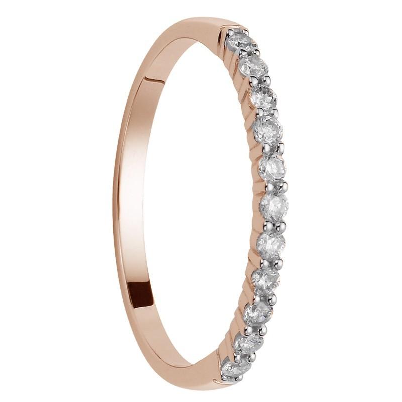 alliance 11 diamants coup de coeur or rose
