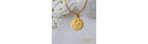 medaille bapteme Très Sainte Famille or