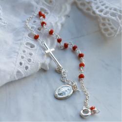 Dizainier argent et perles rouges