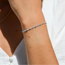 Dizainier argent et perles bleues