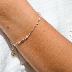 Dizainier argent et perles rose pâle