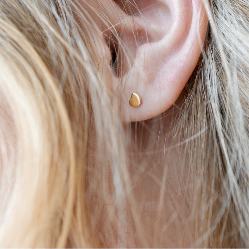Boucles d'oreilles Petits coeurs lisses or jaune 18 cts