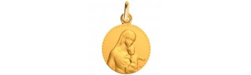 medaille bapteme Mère étoilée or