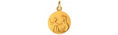 medaille bapteme Notre Dame de France or
