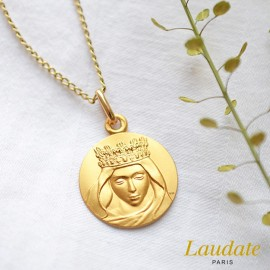 medaille bapteme notre dame laudate or jaune