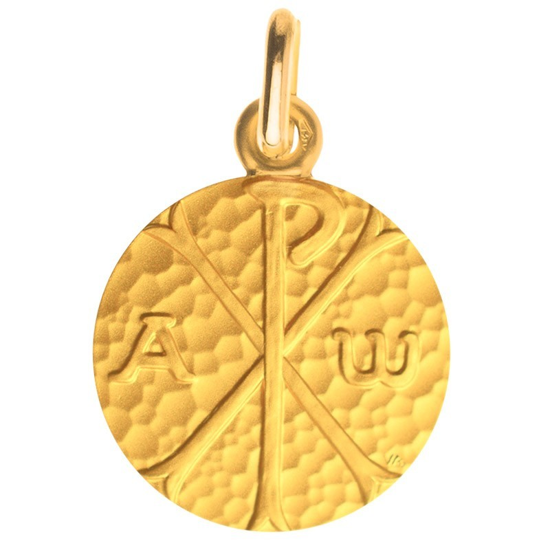 Medaille bapteme Chrisme martelé
