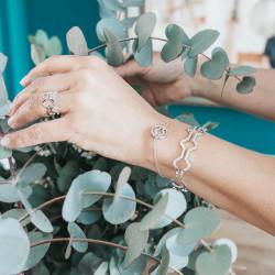 Bracelet parenthese fleurie argent - Maison Laudate