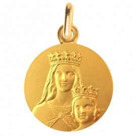 Medaille de bapteme : Vierge a l'enfant couronne