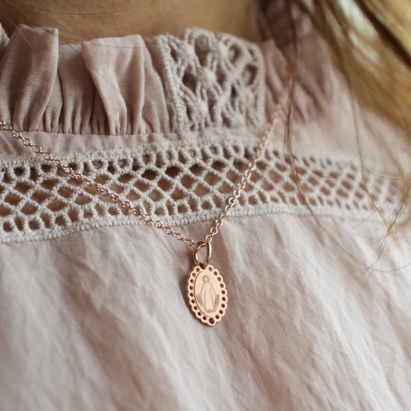 Collier medaille miraculeuse en argent finition or rose - Laudate 1f53210f262