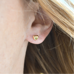 Boucles d'oreilles Grand coeur or jaune 18 cts