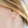 Boucles d'oreilles croix perle or jaune 18 cts