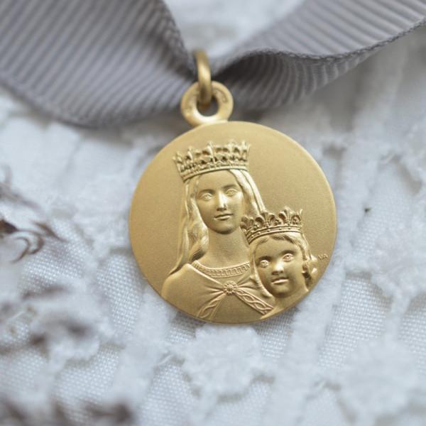 medaille bapteme Vierge à l'enfant couronné