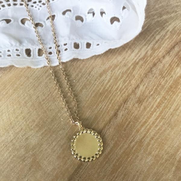 Bijou pendentif Jeton perlé argent finition or jaune