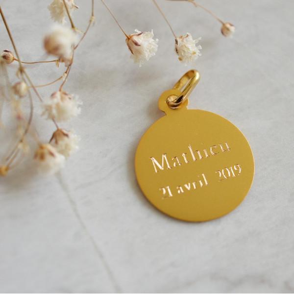 Medaille bapteme Jésus de la crèche en or 18 carats - Laudate