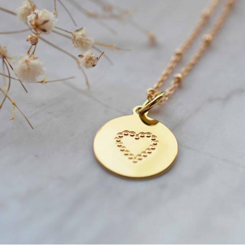 Jeton coeur perlé plaqué or