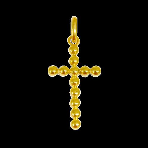 Croix de bapteme perlée or