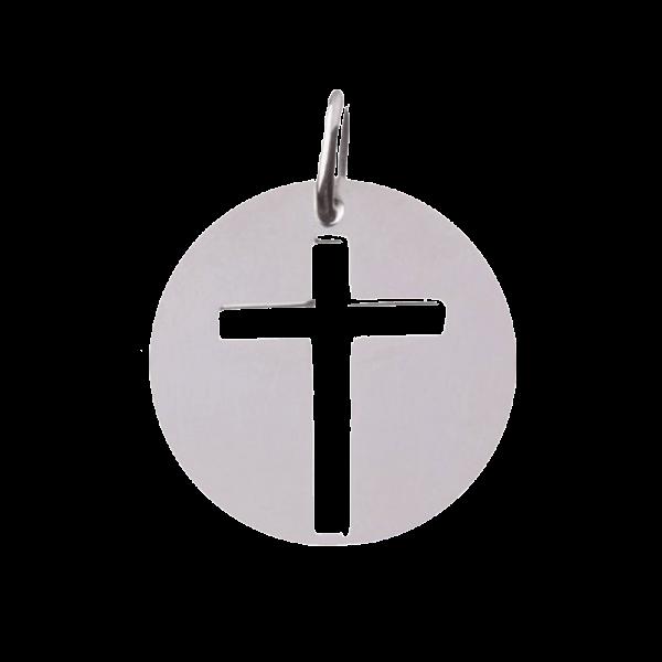 Pendentif de bapteme Croix ajourée argent