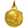 Medaille Bapteme Le Messager 9 carats