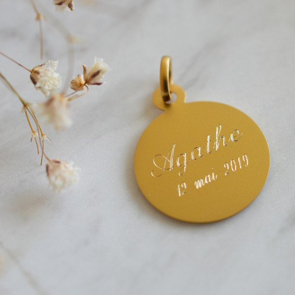 Medaille Bapteme Le Messager 9 carats